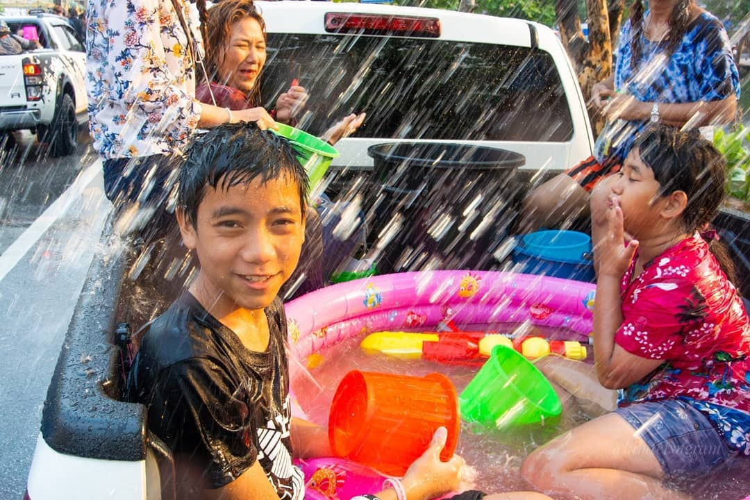 In the back of the pick up during Songkran in Thailand