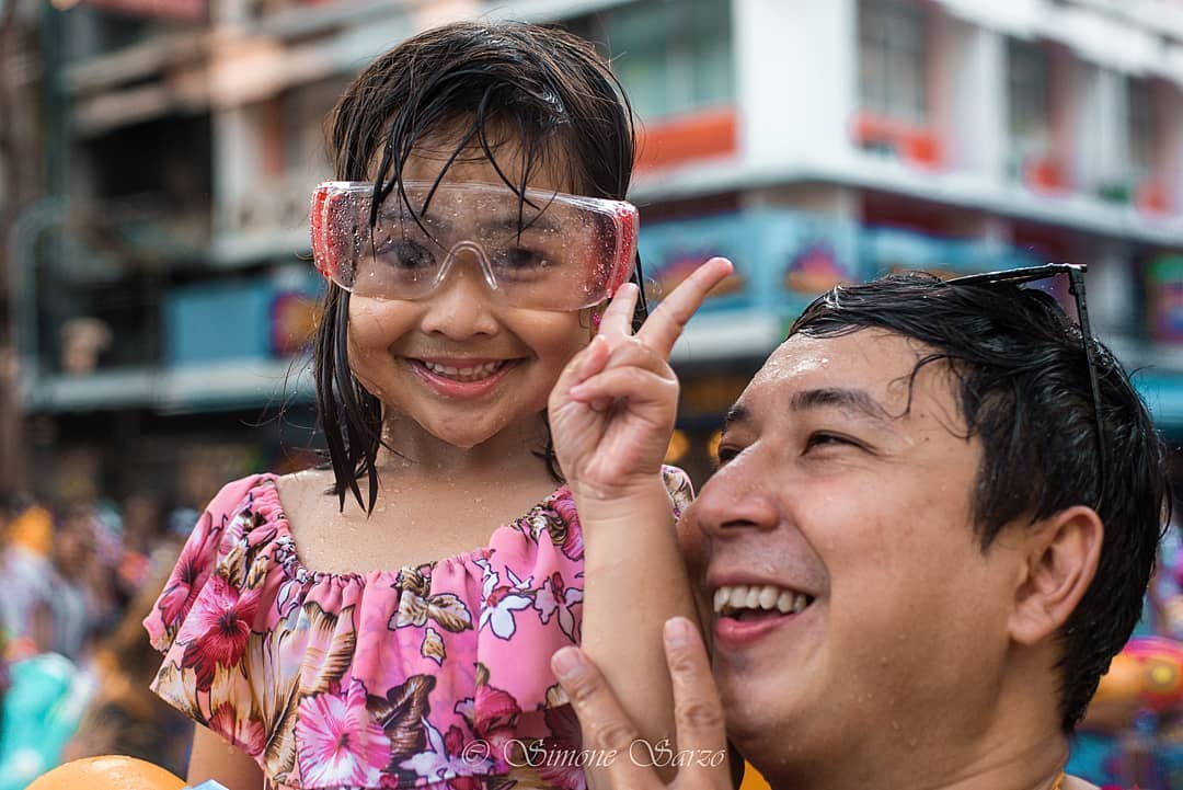 Young girl enjoys Songkran in Thailand