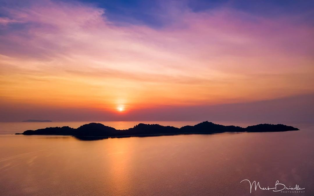 Koh Kradan in the twilight as seen from a drone far away