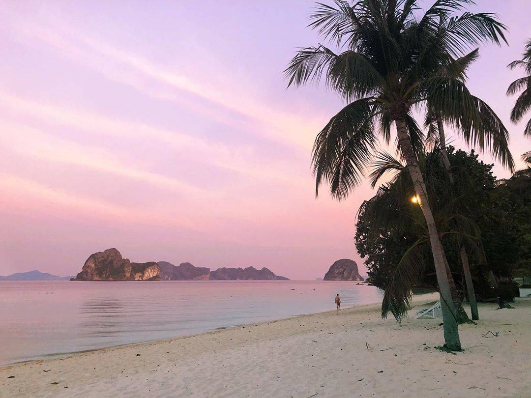 Pink sky above Koh Ngai in the south of Thailand
