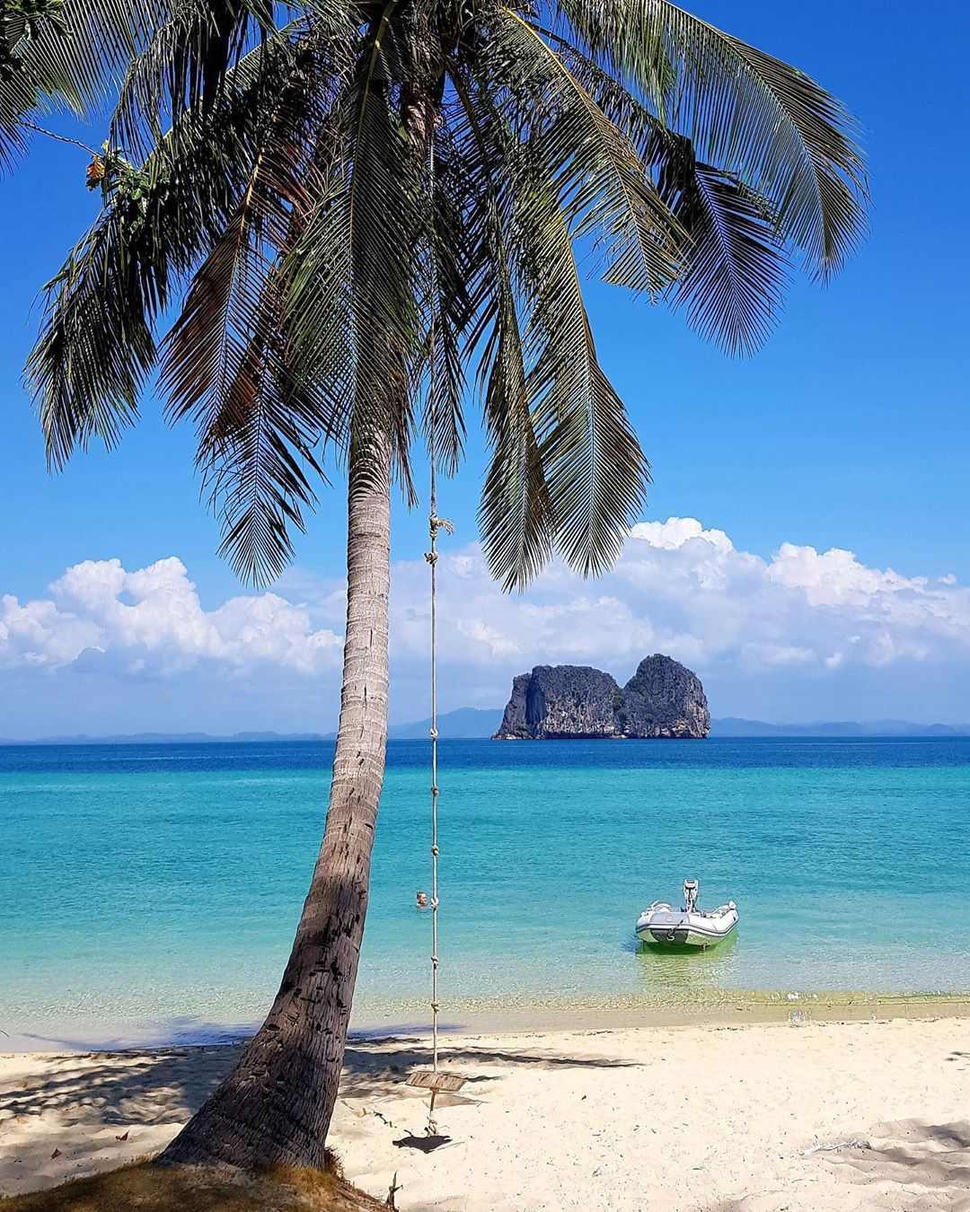 Palmboom met schommel op het strand van Koh Ngai