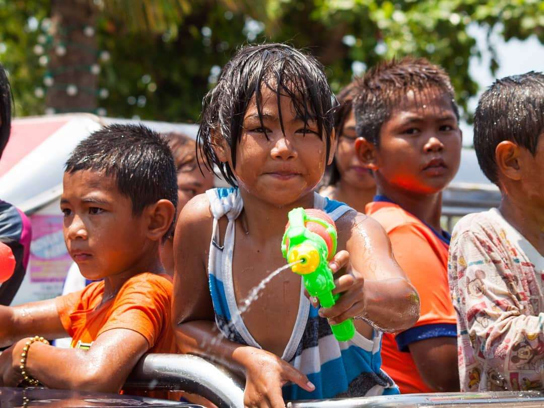 Children during Songkran in Thailand