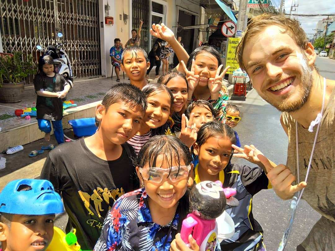 Group of happy cildren during Songkran