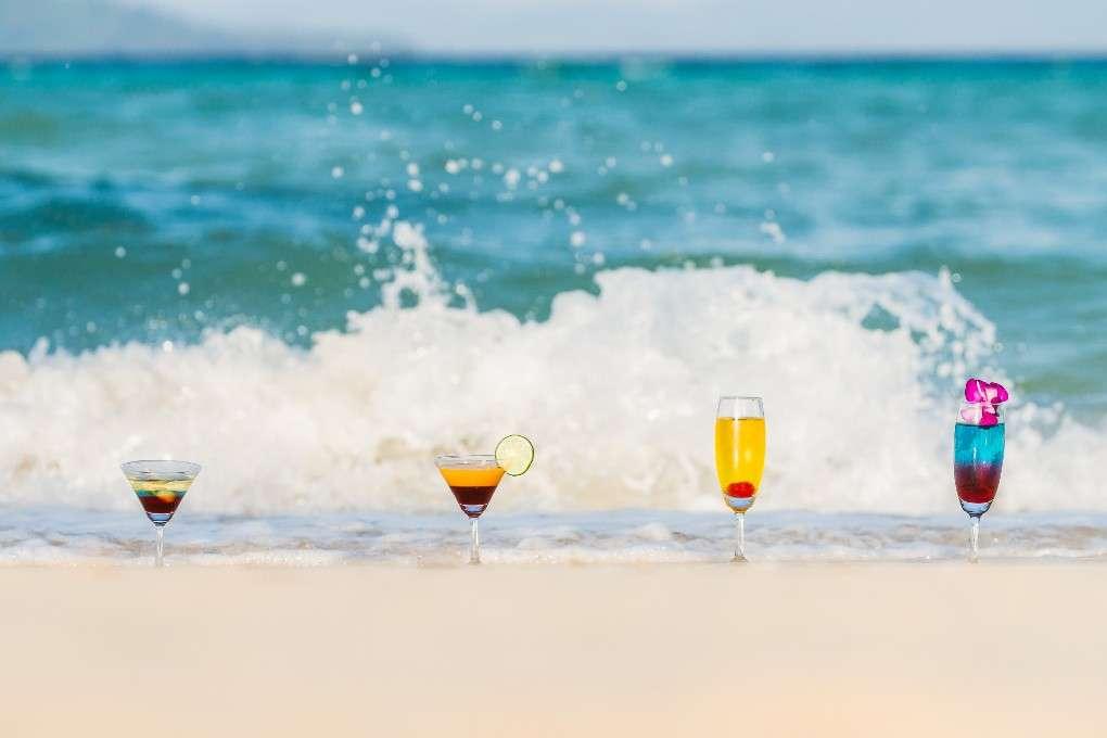 Beachfront cocktails at The Sevenseas Resort on Koh Kradan in Thailand