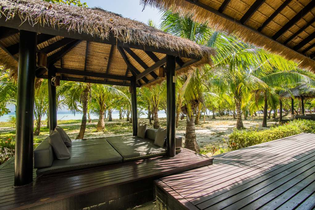 The lounge area for luxury bungalows of The Sevenseas Resort on Koh Kradan