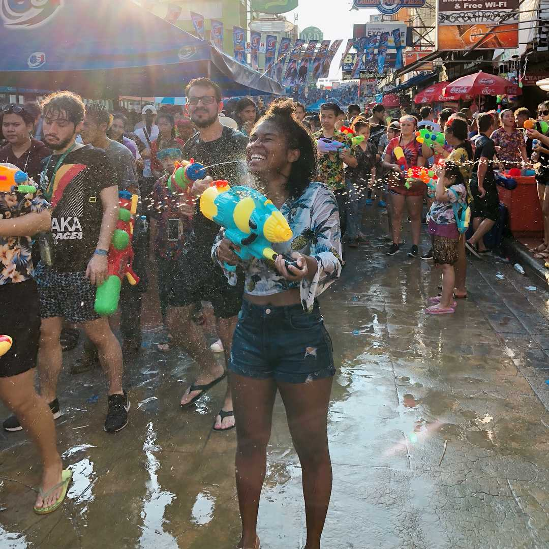 Water fun during Songkran in Thailand