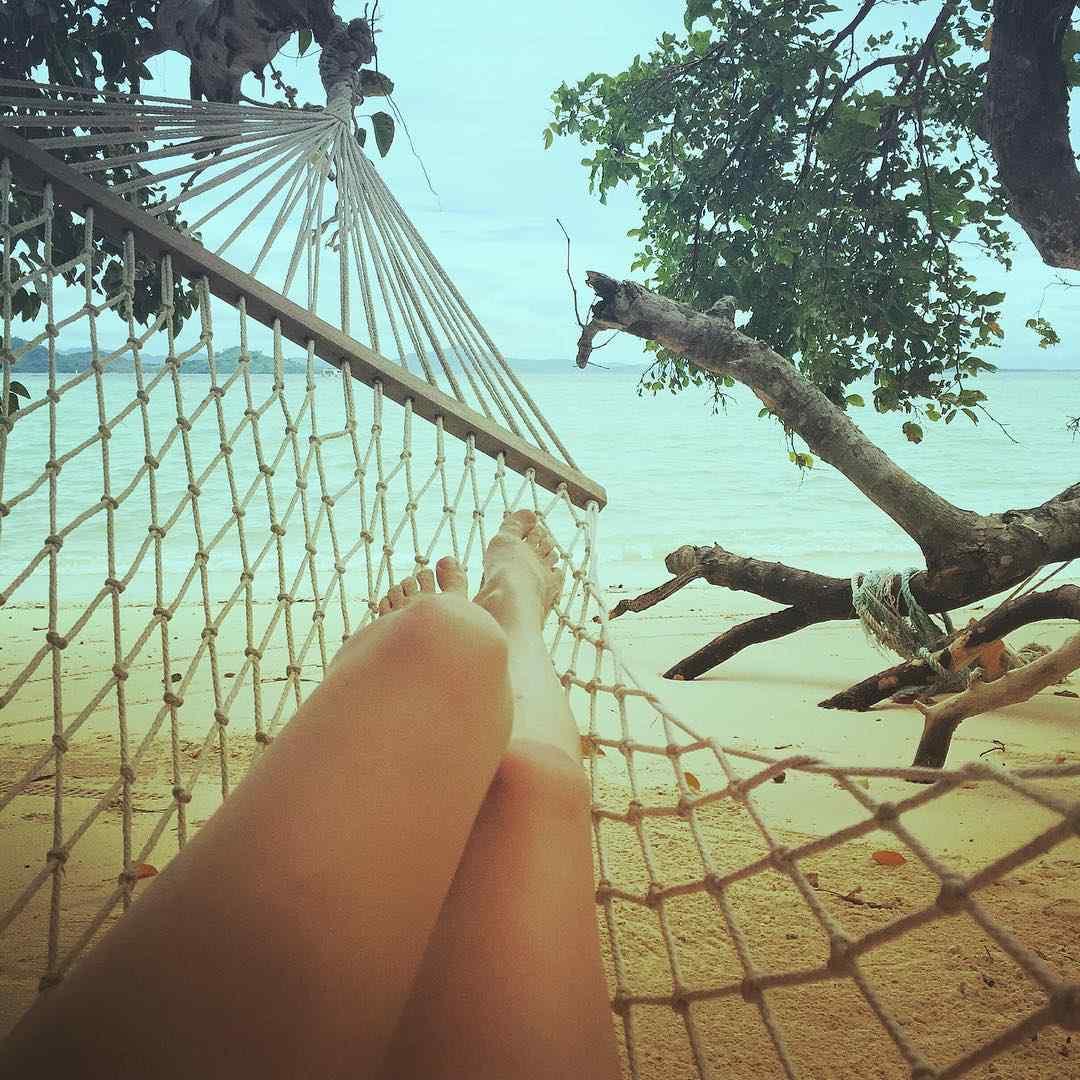 Relaxing in a hammock on top of Koh Kradan
