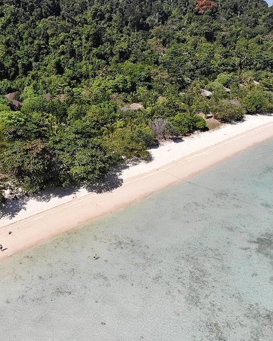 The coast of Koh Kradan seen from a drone