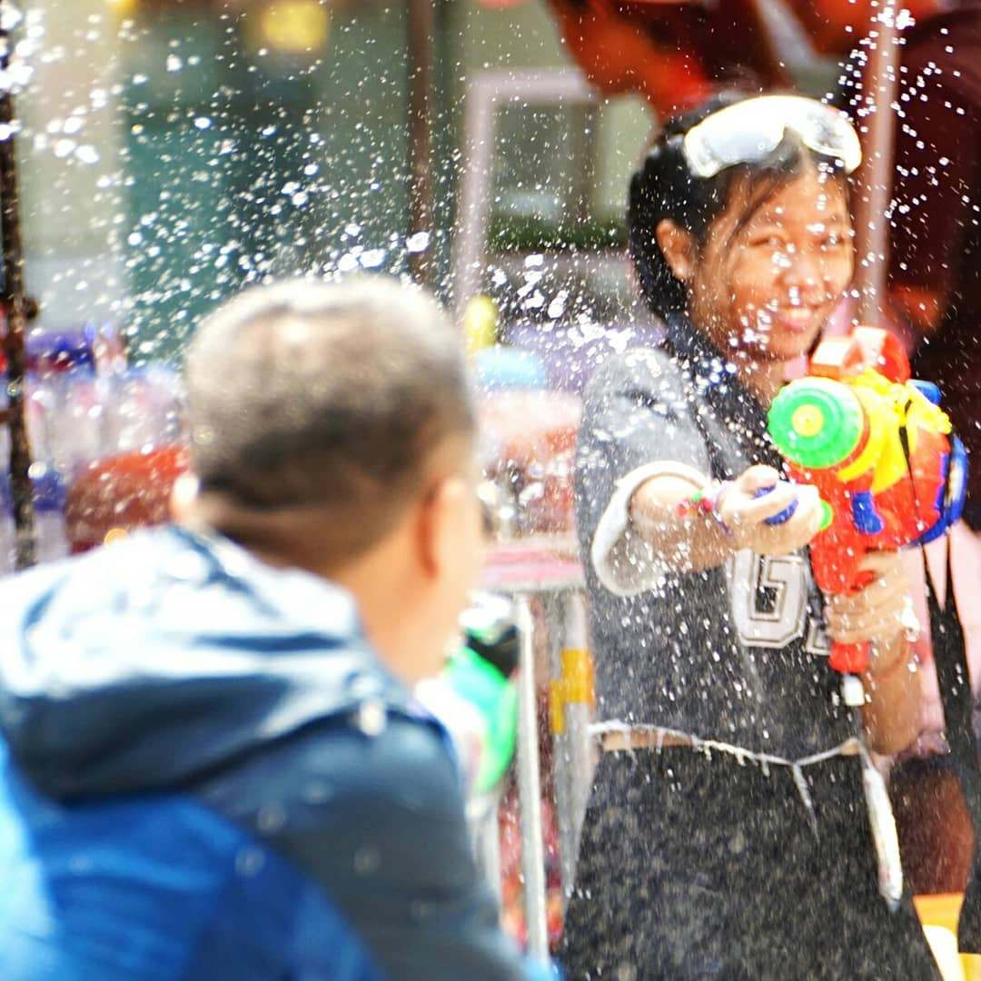 Water fight during Songkran