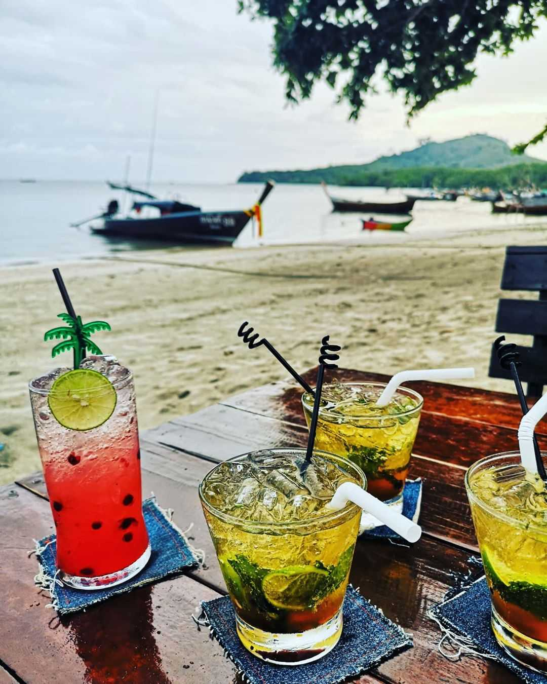 cocktails at the beach on Koh Mook