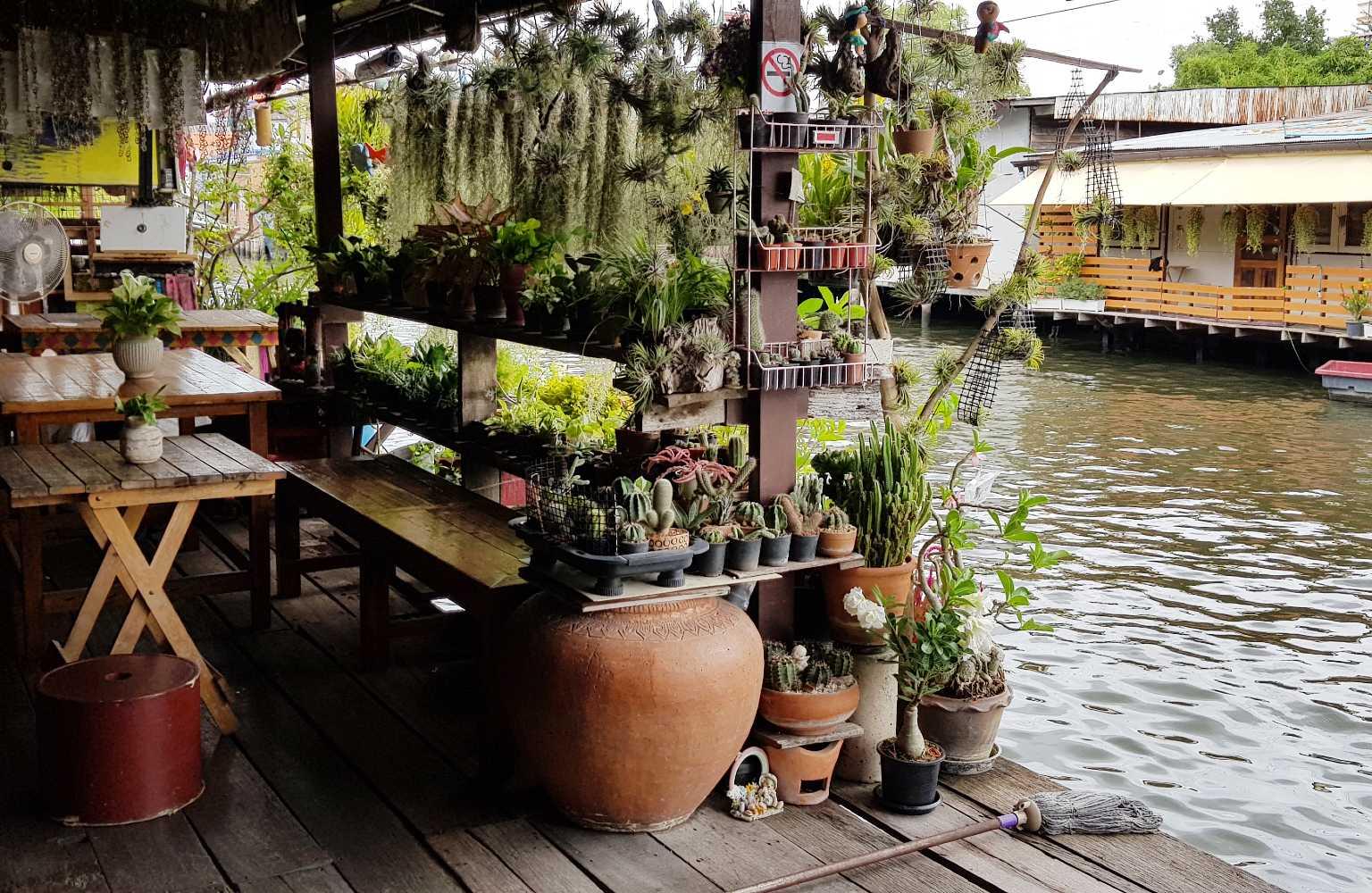 The Artist House rijkelijk versierd met planten.