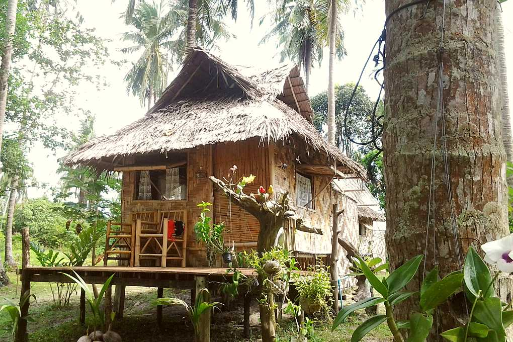 Bamboo hut overlooking the sea,