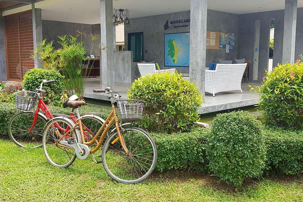 Free bicycles at the entrance of MookLamai Resort
