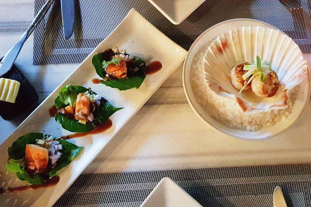 Voorafje met visgerechtjes bij Bistro & Wine (een van de beste restaurants van Ao Nang)