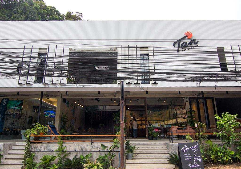 The front side of the TAN Hostel x Cafe (one of the best hotels in Ao Nang)