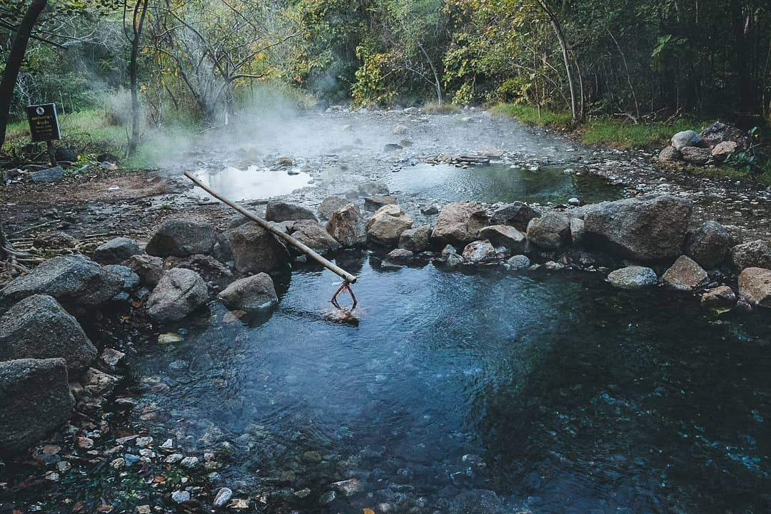 Hot spring where eggs are boiled in the surroundings of Pai