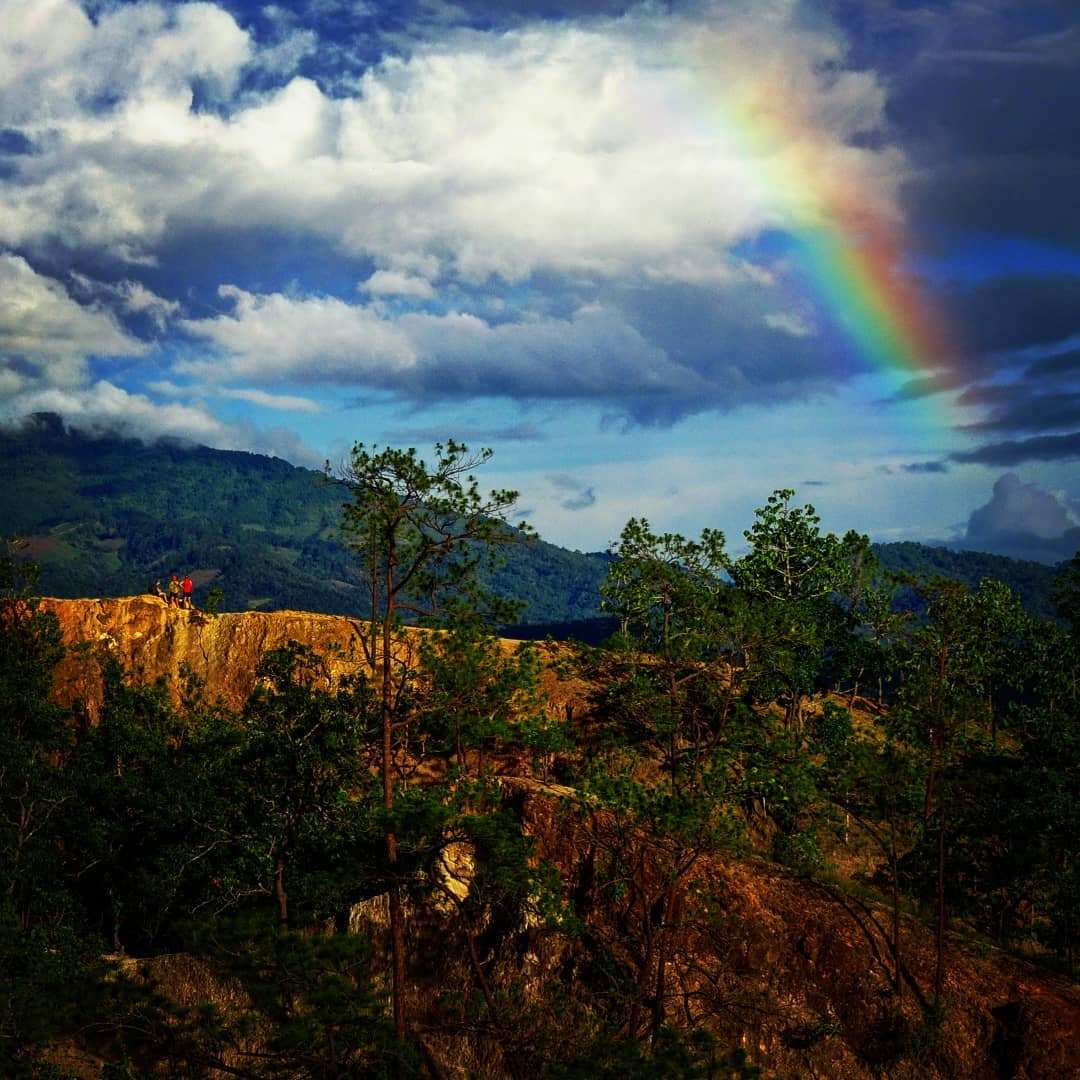 Pai Canyon with rainbow in the background