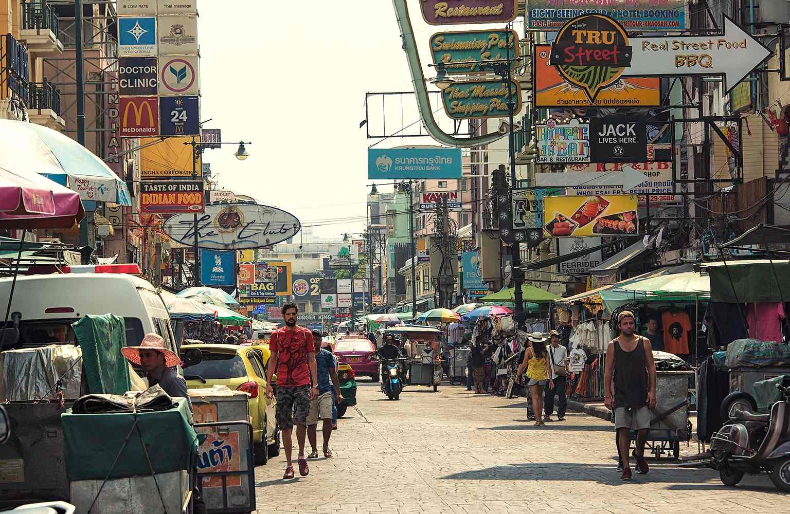 Khao San Road, street full of bars, restaurants and tourists