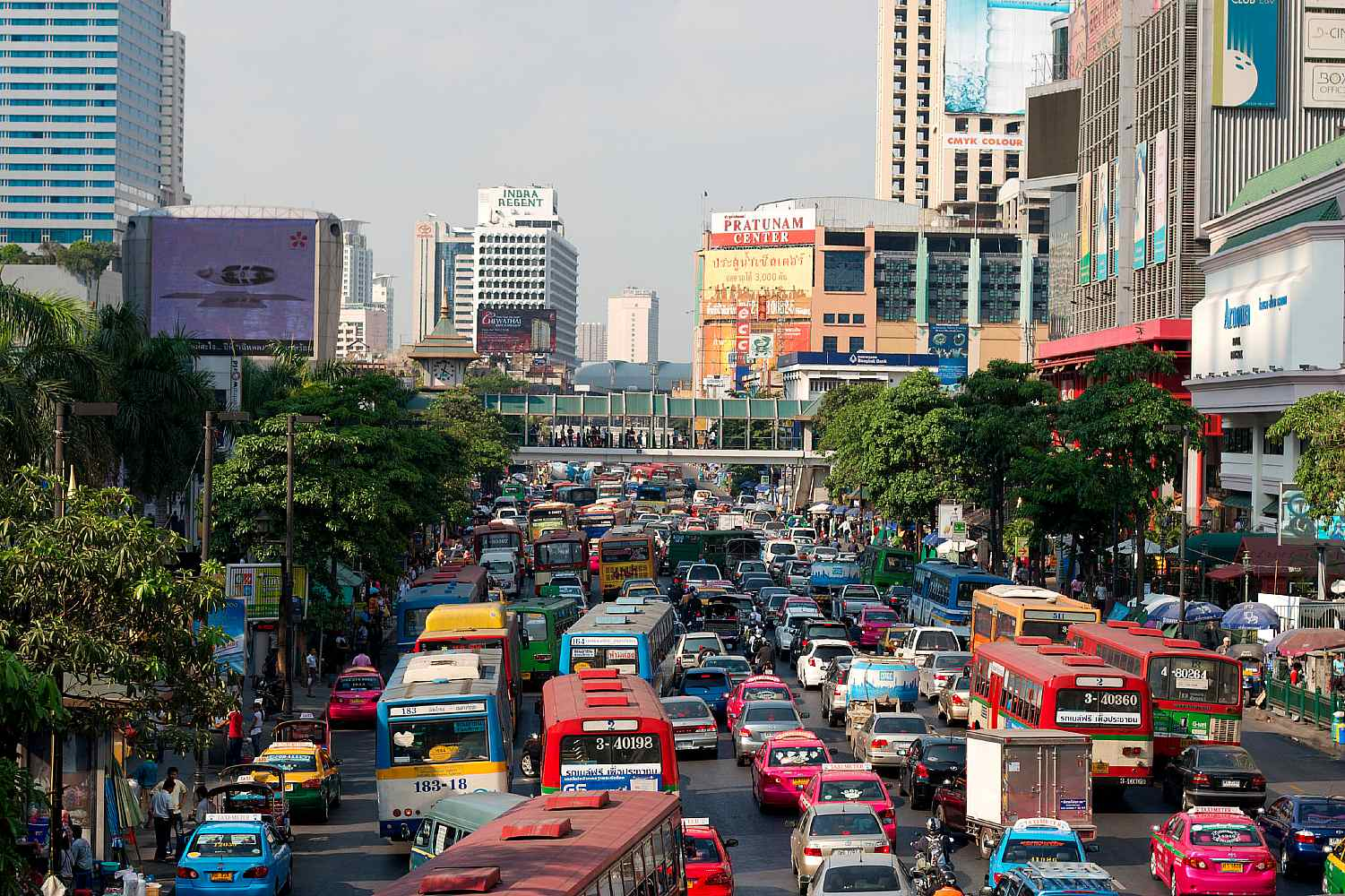 Cars, tuk tuk's and buses are in traffic jam
