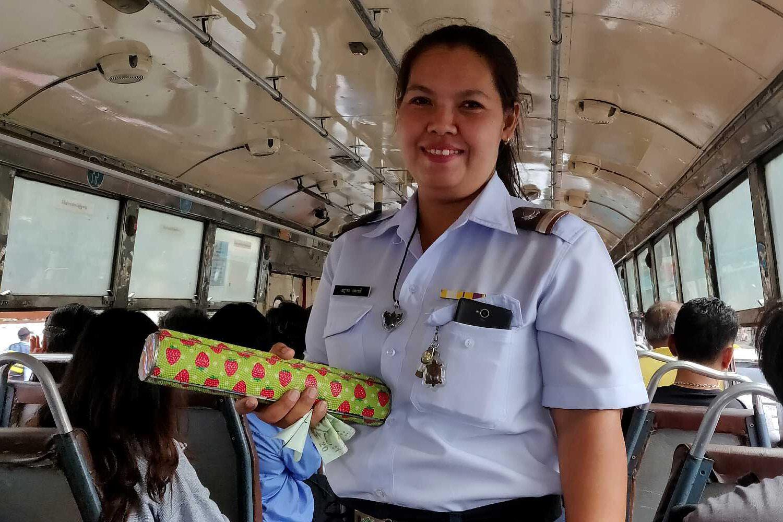 Bus conductrice in de locale bus