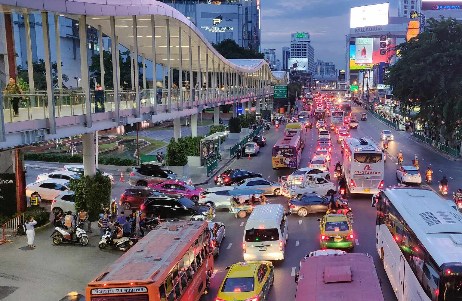 Sky walk above the hustle and bustle of the road in the center of Bangkok