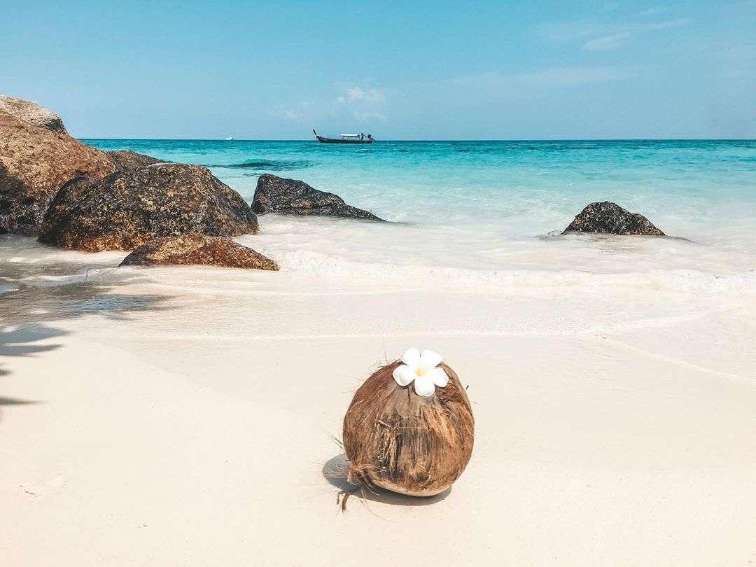 Een kokosnoot op het strand van Koh Lipe