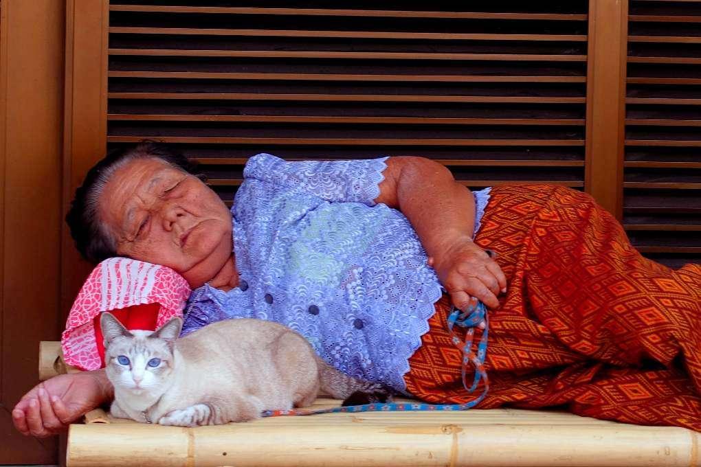 Slapende vrouw met een wakkere kat aan een touwtje in haar handen
