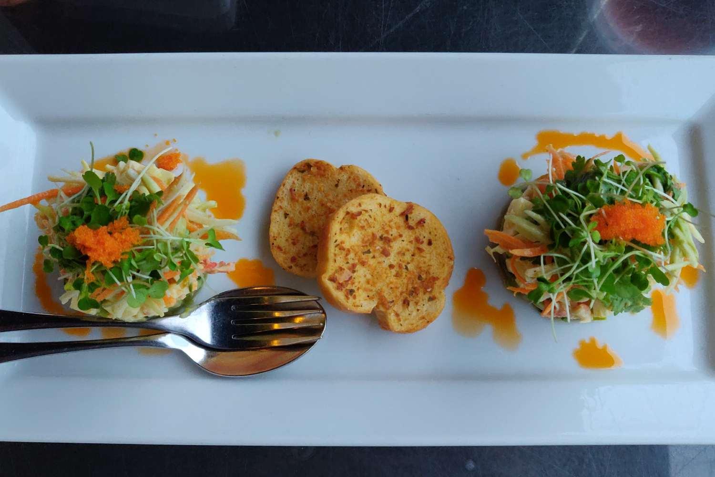 Chilled Alaska King Crab, Avocado Salsa and Wasabi Sesame Dressing - Long Table in Bangkok