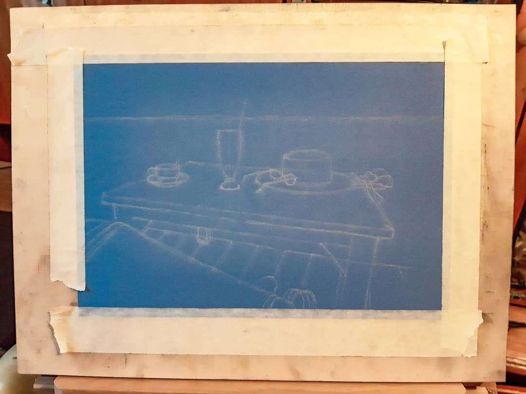 Schets van beginnende tekening op Koh Tao