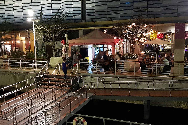 Metal walkway to the pier