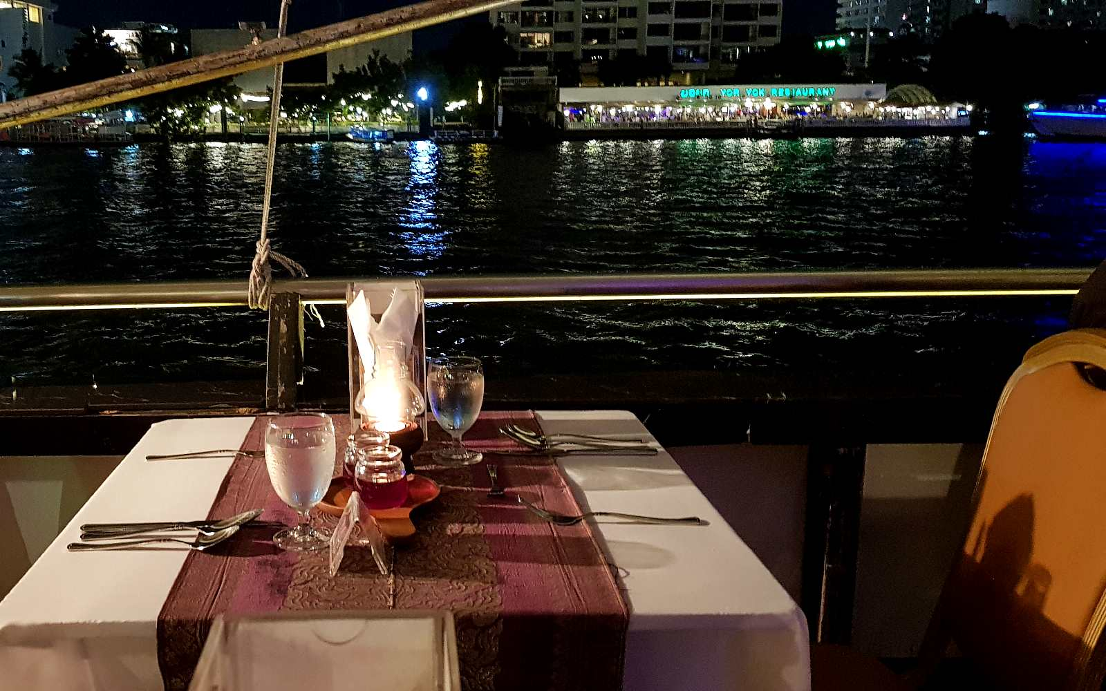 Nicely set table overlooking the river