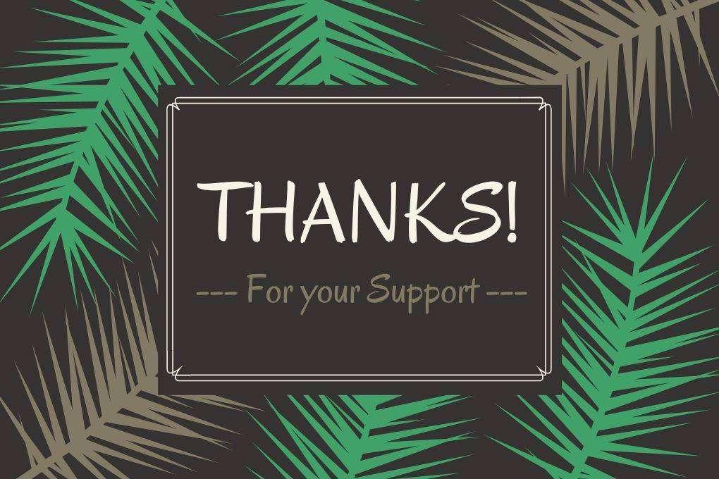 Kaart Met Bladeren Met Link En Tekst: Thanks, For Your Support