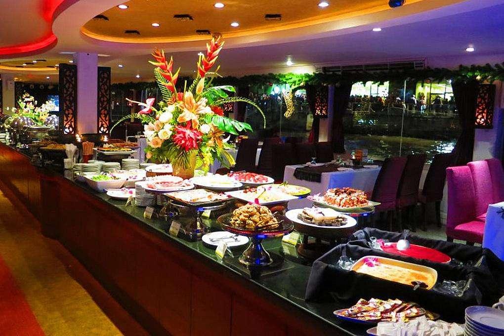 Dinner buffet below deck