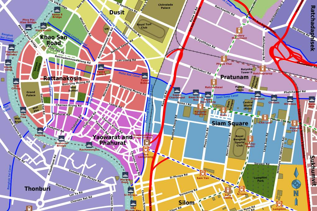 Map of popular neighborhoods Bangkok in Thailand