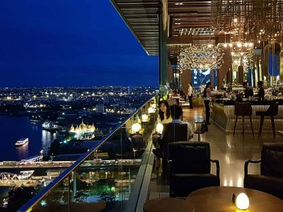 Interior Rooftop Bar SEEN & Restaurant With Views Of Bangkok And The River