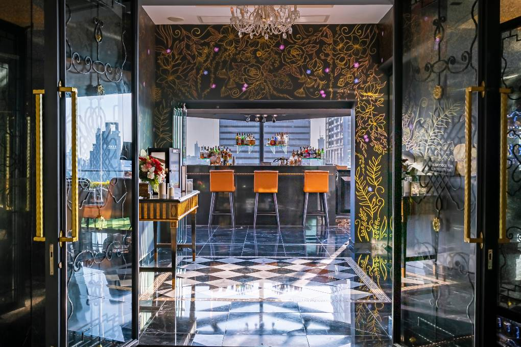Upon entering the 1826 Mixologist & Rooftop Bar, part of the Rembrandt Hotel & Suites in Bangkok.