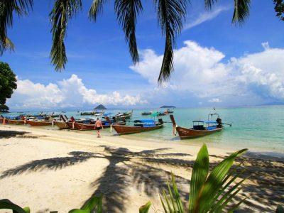 A Beach At Koh Phi Phi With Many Longtail Boats
