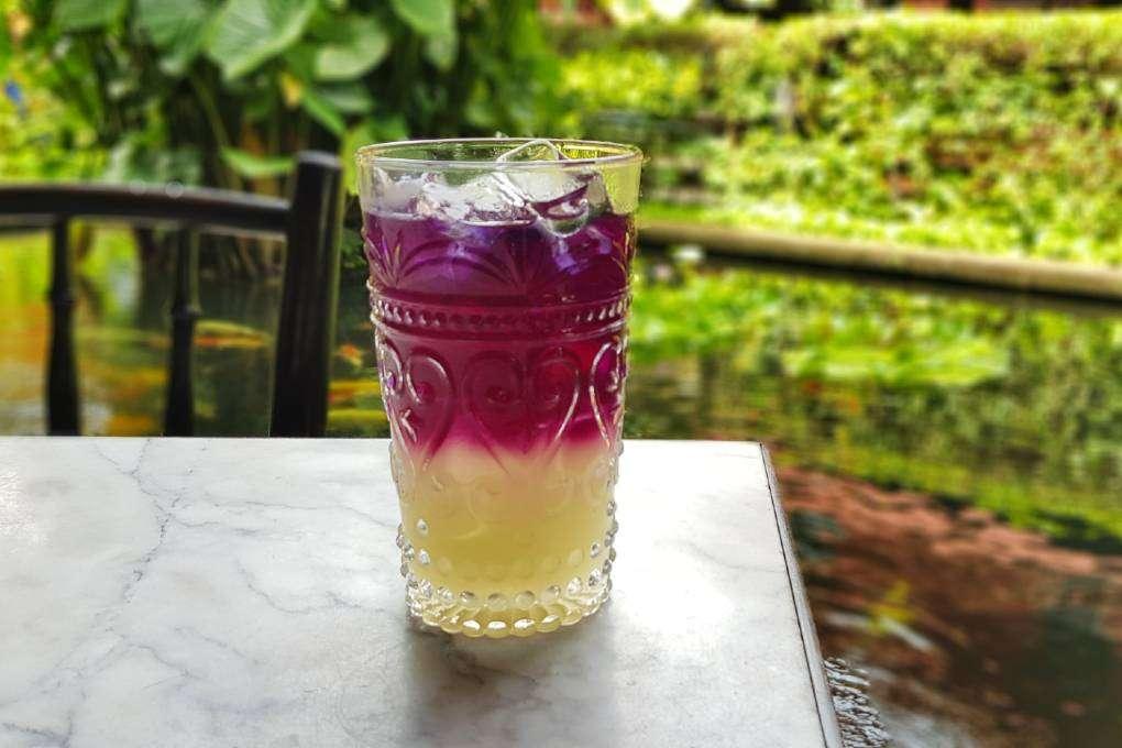 Verfrissend drankje bij het Jim Thompson Restaurant naar het Jim Thompson House & Museum in Bangkok