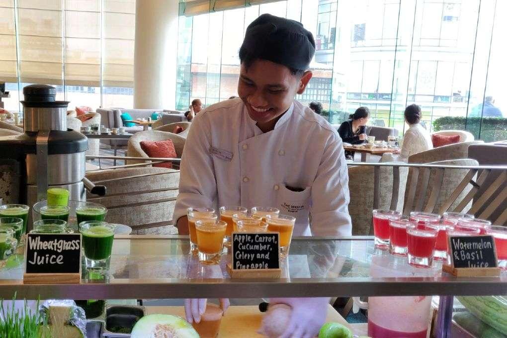 Gezonde drankjes bij het Seasonal Tastes restaurant in The Westin Grande Sukhumvit in Bangkok