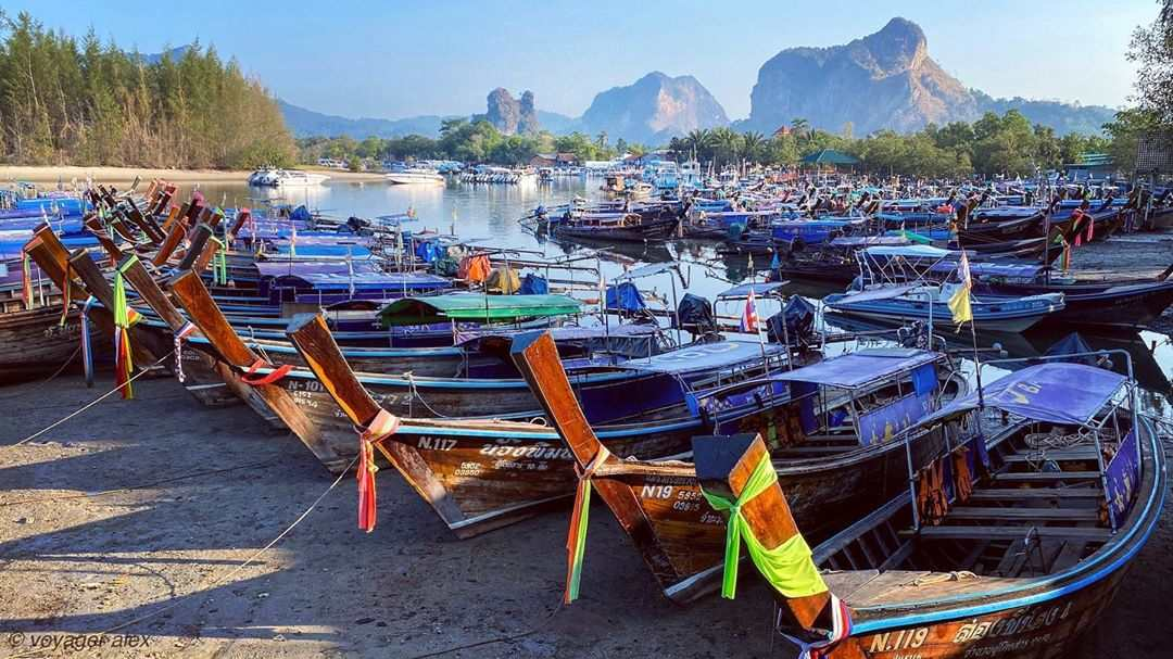 Longtail boats in the harbor of Ao Nang