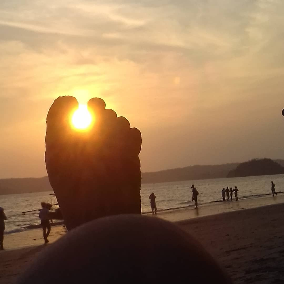 Foot with the sun shining through the toes