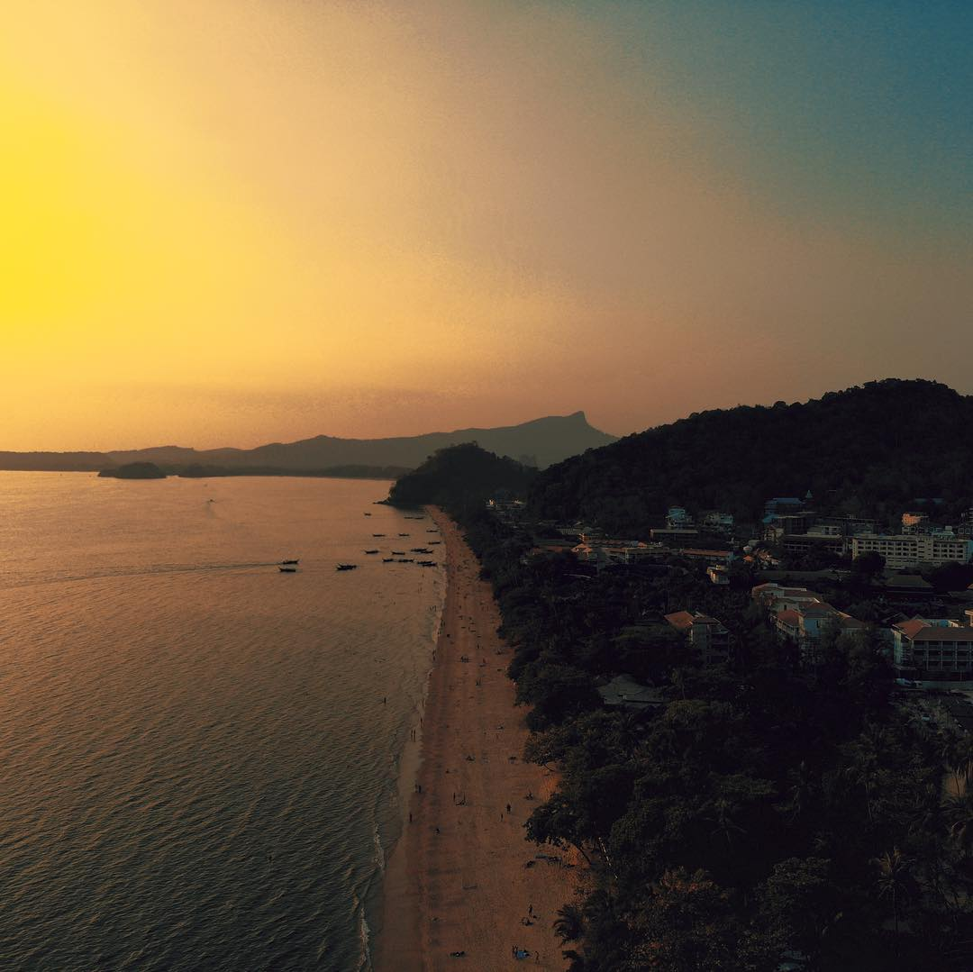 The coast of Ao Nang seen with a drone