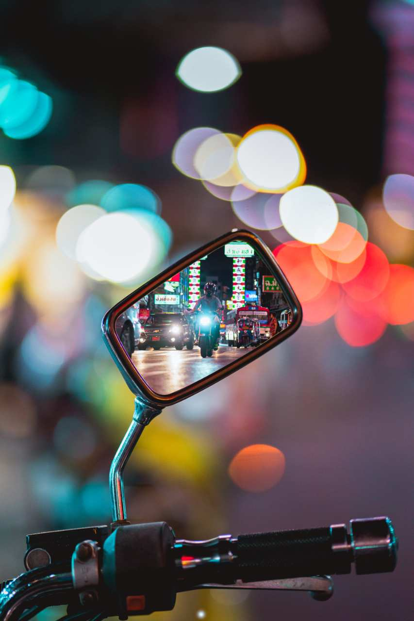 Traffic in a rear mirror in Bangkok