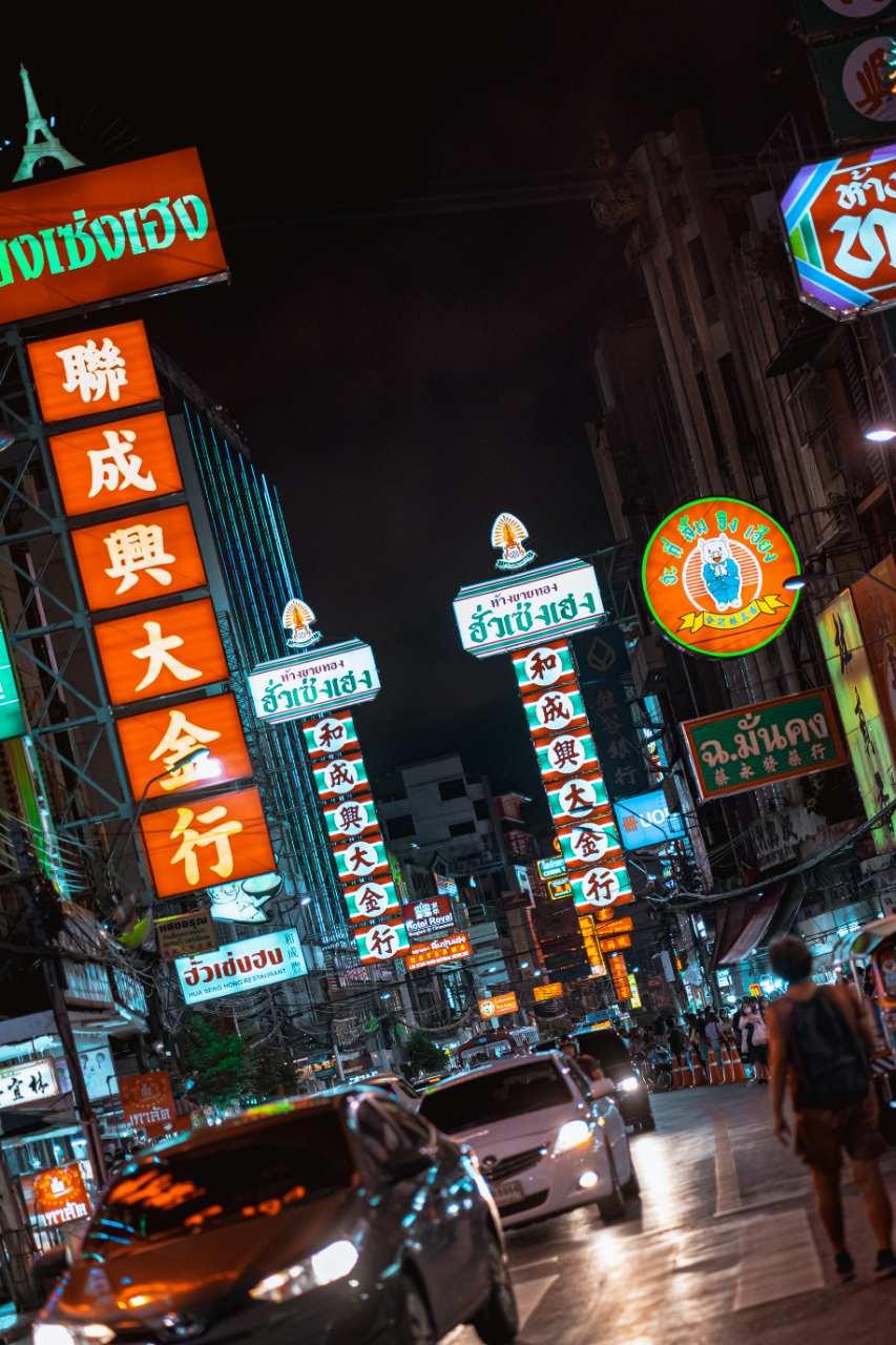 Neon lights at Chinatown Bangkok