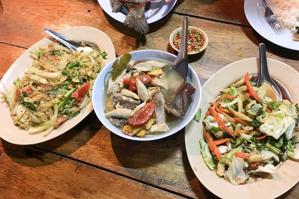 Plates with Thai dishes