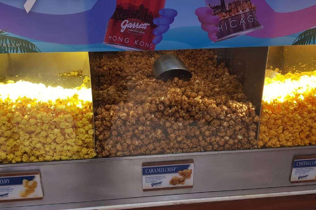 Different flavors of popcorn at Garret Popcorn in Siam Paragon, Bangkok