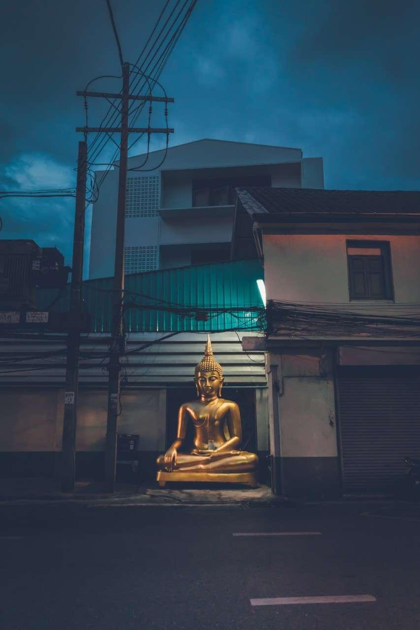 Large Buddha statue in the street of Bangkok