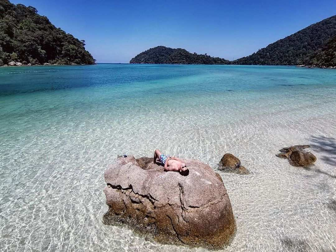 Chilling on a rock of the Surin Islands