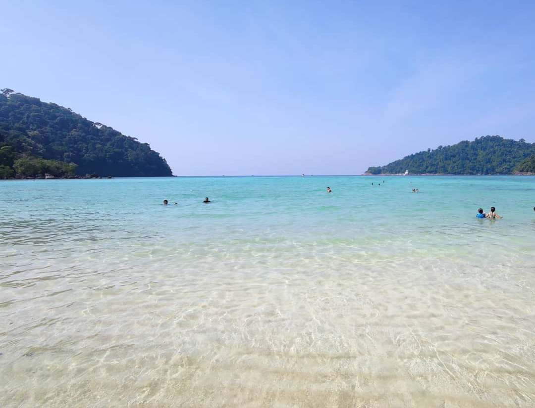 The clear sea water of the Surin Islands