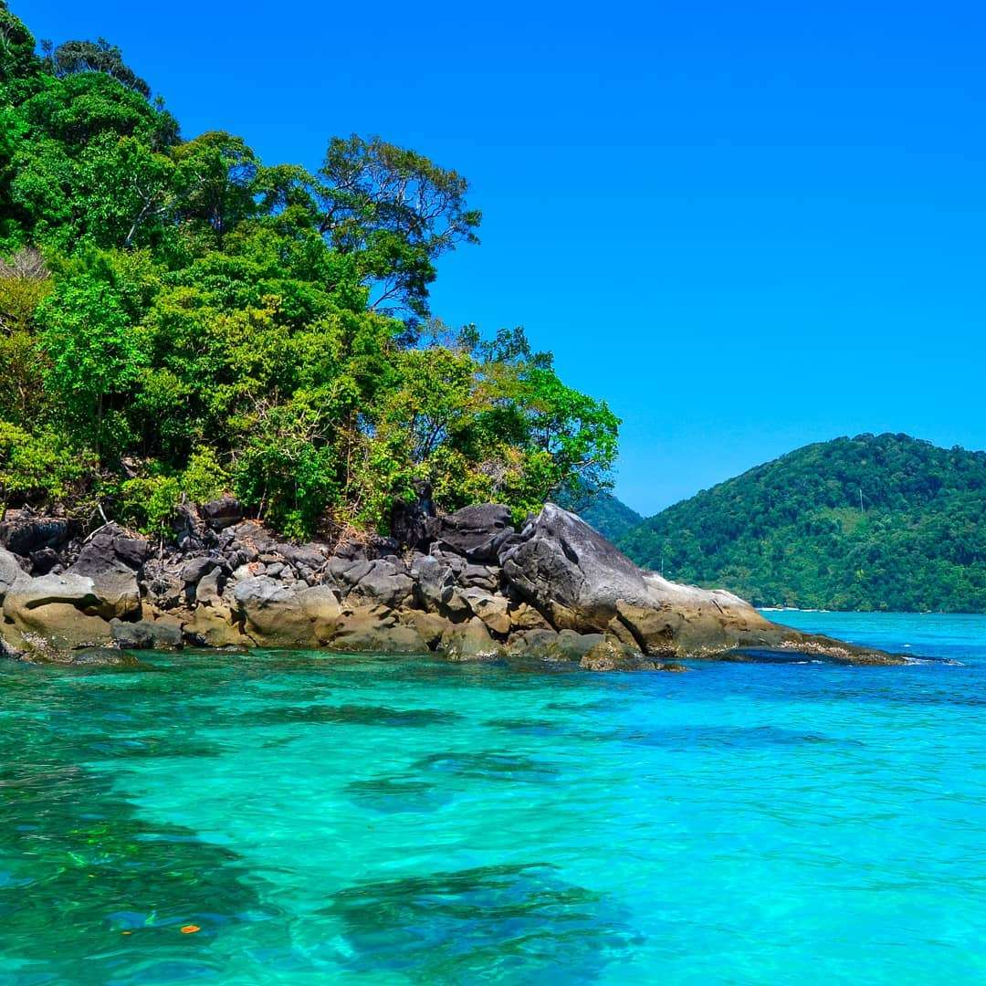 The beautiful blue-green sea of the Surin Islands